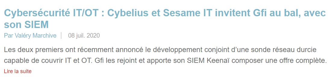 Article Sesame IT Mag IT partenariat Cybelius GFI